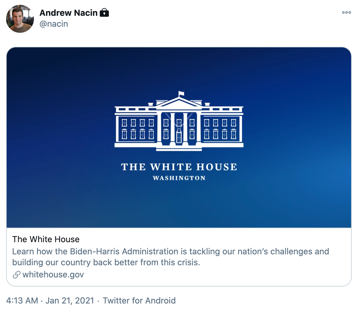 WordPress lead developer Andrew Nacin's tweet about Whitehouse.gov