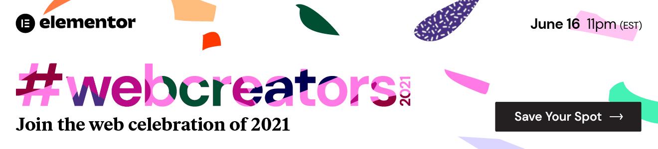 Banner promoting Elementor's webcreators 2021 conference.