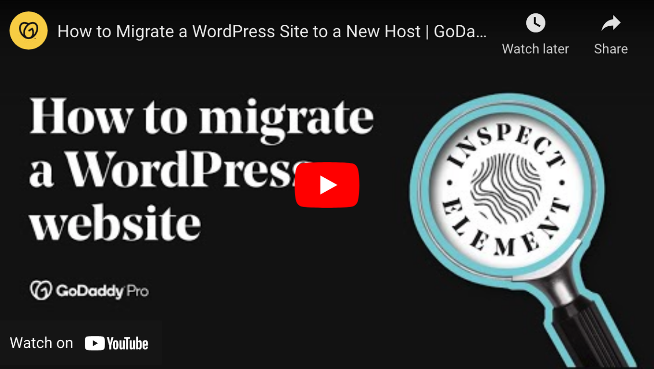 YouTube video titled How to migrate a WordPress website by GoDaddy Pro.
