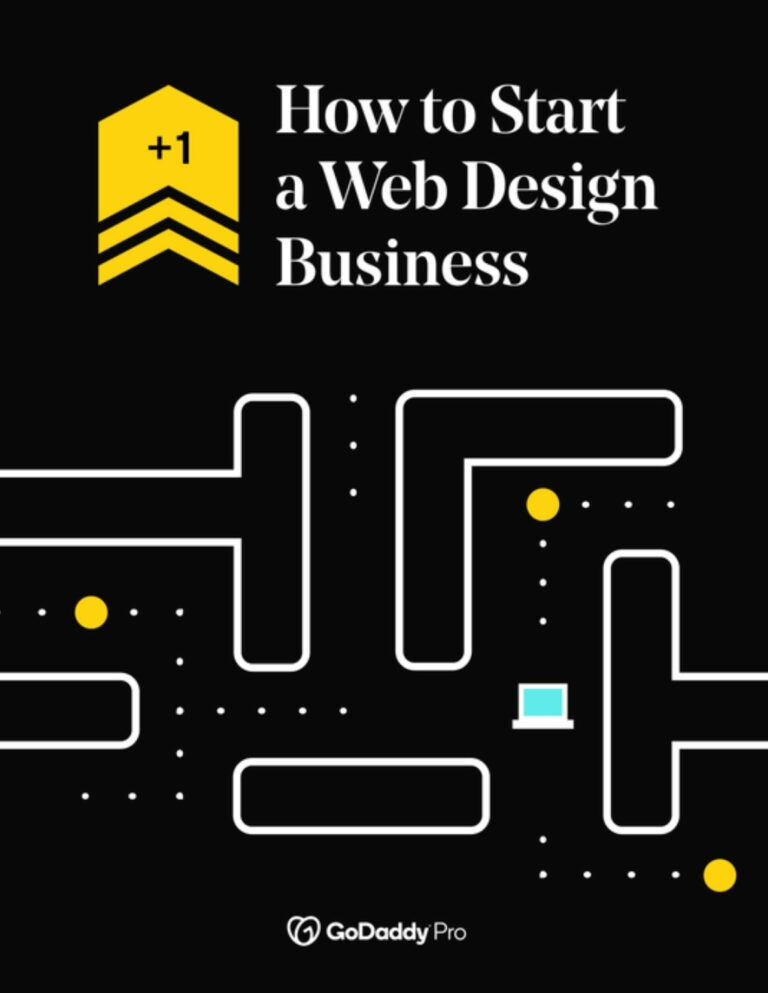 A Pac Man-style graphic with a mini computer navigating a maze, with the text 'how to start a web design business'.