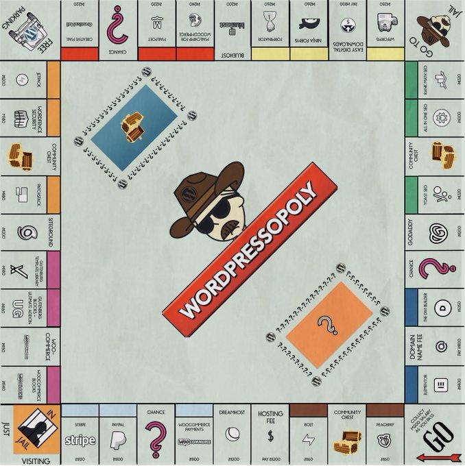 WordPressopoly board game mock up